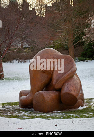 """Edinburgh, Scotland, UK. 2nd Feb, 2019. A Memorial in the shape of a two and a half tonne baby elephant will be unveiled today in Edinburgh's Princes Street Gardens West, this comes more than six years after it was discovered that babies ashes had been dumped in an unmarked grave at Mortonhall Cemetery, the memorial is a way to remember the hundreds of babies in future years. Designed and created by Sculptor Andy Scott. Mr Scott gave the baby elephant the working title """"Lulla-Bye"""" Credit: Arch White/Alamy Live News - Stock Photo"""