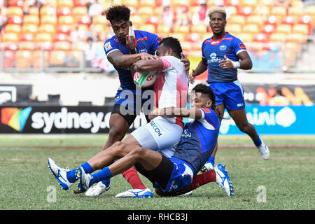 Spotless Stadium, Sydney, Australia. 2nd Feb, 2019. HSBC Sydney Rugby Sevens; Samoa versus Japan; John Vaili and Joe Perez in the tackle Credit: Action Plus Sports/Alamy Live News - Stock Photo