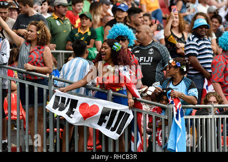 Spotless Stadium, Sydney, Australia. 2nd Feb, 2019. HSBC Sydney Rugby Sevens; Fiji fans supportng their team Credit: Action Plus Sports/Alamy Live News - Stock Photo