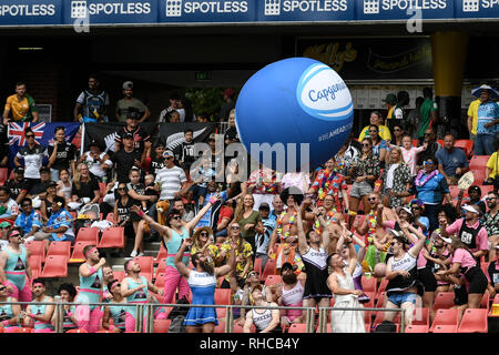 Spotless Stadium, Sydney, Australia. 2nd Feb, 2019. HSBC Sydney Rugby Sevens; fans in fancy dress enjoying the games Credit: Action Plus Sports/Alamy Live News - Stock Photo