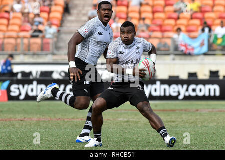 Spotless Stadium, Sydney, Australia. 2nd Feb, 2019. HSBC Sydney Rugby Sevens; England versus Fiji; Waisea Nacuqu of Fiji looks for options Credit: Action Plus Sports/Alamy Live News - Stock Photo