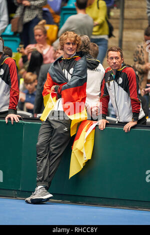 Frankfurt, Germany. 02nd Feb, 2019. Celebration of the german team, Alexander (Sascha) ZVEREV, GER, Philipp KOHLSCHREIBER, GER Tennis Pro, with national banner, GERMANY - HUNGARY 3-0 Qualifiers Round Mens Tennis Davis Cup in Frankfurt, Germany, February 02, 2019 Season 2018/2019, Credit: Peter Schatz/Alamy Live News - Stock Photo