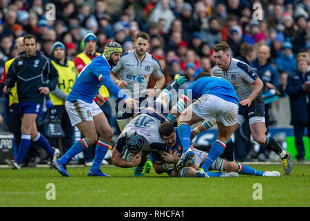 Murrayfield Stadium, Edinburgh, UK. 2nd Feb, 2019. Guinness Six Nations Rugby Championship, Scotland versus Italy; Josh Strauss of Scotland is tackled Credit: Action Plus Sports/Alamy Live News - Stock Photo