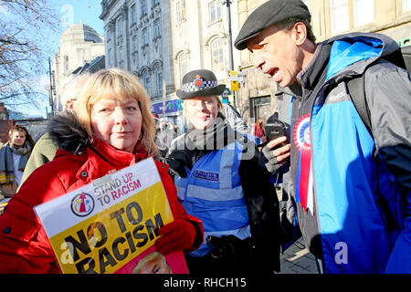 Manchester, UK. 2nd February 2019. A right wing protester shouting at an anti racist campaigner in Piccadilly Gardens,  Manchester, UK, 2nd February 2019 (C)Barbara Cook/Alamy Live News Credit: Barbara Cook/Alamy Live News - Stock Photo