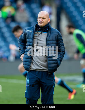 Scotland, UK. 2nd Feb 2019. : Scotland Head Coach, Gregor Townsend before the kick off as Scotland play host to Italy in their opening game of the 2019 6 Nations Championship at Murrayfield Stadium, Edinburgh on February 2nd, 2019.  (Photo by Ian Jacobs) Credit: Ian Jacobs/Alamy Live News Credit: Ian Jacobs/Alamy Live News - Stock Photo