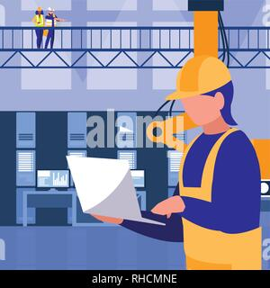industrial worker in factory character vector illustration design - Stock Photo
