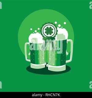 st patrick day with beers in jar vector illustration design - Stock Photo