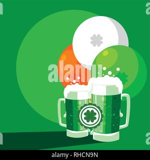 st patrick day with beers in jar and balloons helium vector illustration design - Stock Photo