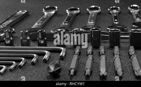 Hardware Hand Tools Laid In Order Close Up