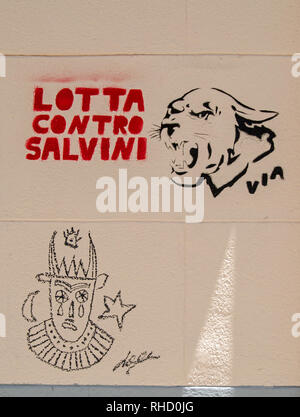 PALERMO, ITALY - JUNE 16, 2018: Graffiti on a wall in Palermo against the Deputy Prime Minister of Italy - Mateo Salvini. The leader of the Northern L - Stock Photo