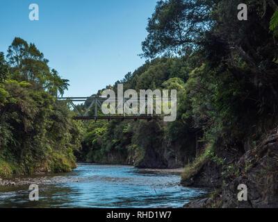 Ogilvies Bridge, Tauranga River, Waimana Valley, Te Urewera National Park, Bay of Plenty, North Island, New Zealand - Stock Photo