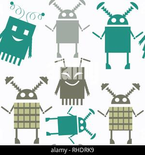 Robots abstract vector seamless pattern. It is located in swatch menu. Colorful background for surface design - Stock Photo