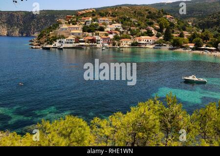 Assos village, Kefalonia island, Greece - Stock Photo