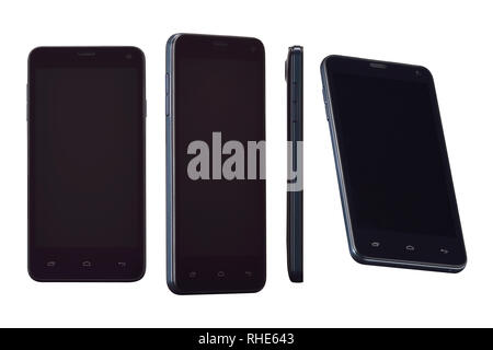 Black mobile smart phone in four positions. For game design, smartphone mobile application presentation. This smartphone mock-up isolated on white bac - Stock Photo