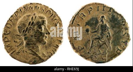 Ancient Roman bronze sertertius coin of Emperor Gordian III. - Stock Photo