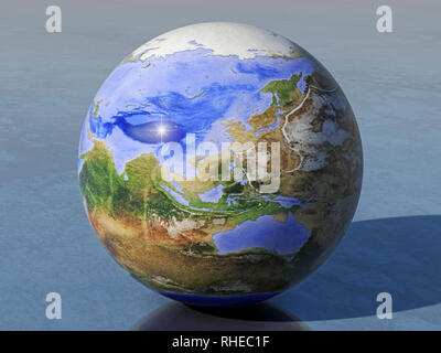 Computer-generated globe of an inverted earth on which land and water are reversed, with sunlight from the left, on a shiny surface, looking at the he - Stock Photo