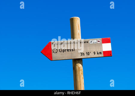 Siena, Italy - June 19, 2018. A road sign in the Crete Senesi (Senese Clays) reading: 'Excursion tuscan network. Cypresses' - Stock Photo