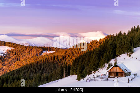 Wooden cottage in the background of a pink sky and snow-capped mountains in the morning sun. With men on the yard. And pine forest. Carpathian, Ukrain - Stock Photo