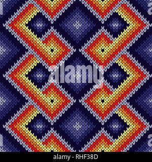 Knitted seamless decorative pattern with interlacing lines in purple, red, orange and yellow colors, vector as a fabric texture - Stock Photo