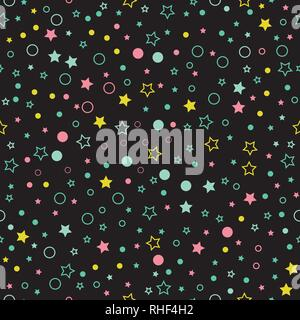 Seamless vector pattern with multicolor stars, circles and dots on black background. - Stock Photo