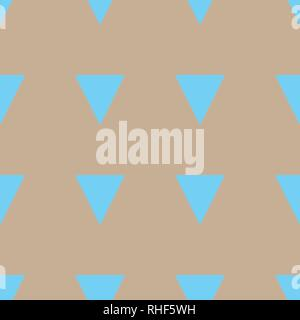 Vector Seamless triangle pattern. Geometric abstract texture. Cyan triangles on beige background. - Stock Photo