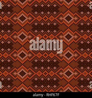 Knitting geometric seamless ornament in brown and orange hues, vector pattern as a fabric texture - Stock Photo