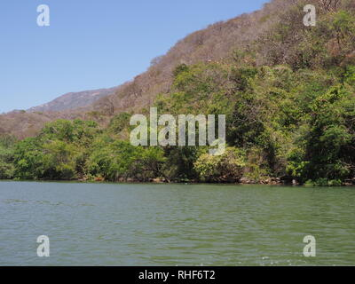Tropical slope of Sumidero canyon at Grijalva river landscape in Chiapas state in Mexico - Stock Photo