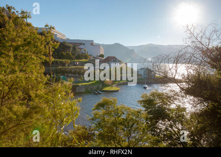 Douro Valley riverside Spa Hotel Royal in the morning mist and bright sunlight Portugal December 2018 - Stock Photo