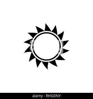 Sun vector icon on white background. - Stock Photo