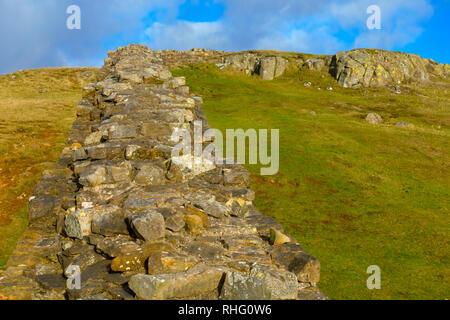 Hadrian's Wall near Walltown, Northumberland - Stock Photo