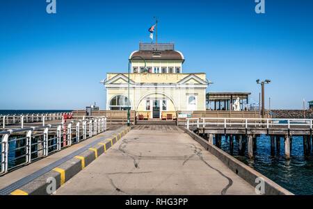 St Kilda Pavilion an historic kiosk located at the end of Saint Kilda Pier in Melbourne Victoria Australia - Stock Photo