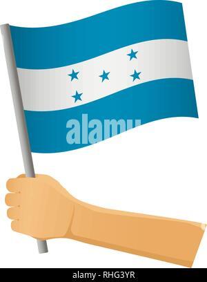 Honduras flag in hand. Patriotic background. National flag of Honduras vector illustration - Stock Photo