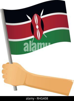 Kenya flag in hand. Patriotic background. National flag of Kenya vector illustration - Stock Photo