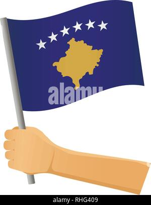 Kosovo flag in hand. Patriotic background. National flag of Kosovo vector illustration - Stock Photo