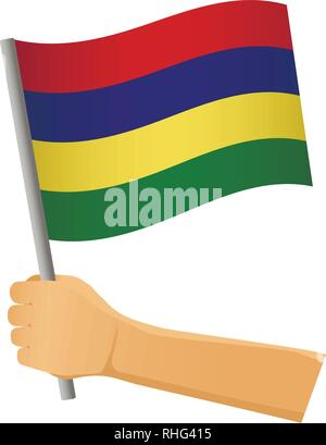 Mauritius flag in hand. Patriotic background. National flag of Mauritius vector illustration - Stock Photo
