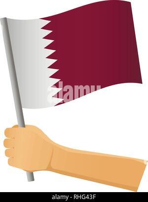 Qatar flag in hand. Patriotic background. National flag of Qatar vector illustration - Stock Photo