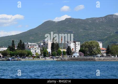 Ohrid city port. Ohrid old town near lake coast. Macedonia. - Stock Photo