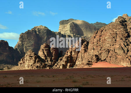 Rock formations in the desert at Wadi Rum. The protected area listed as World Heritage by UNESCO, Jordan - Stock Photo