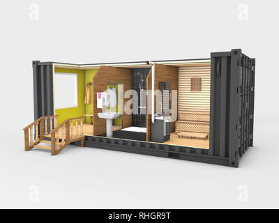 Converted old shipping container into sauna, 3d Illustration isolated gray. - Stock Photo