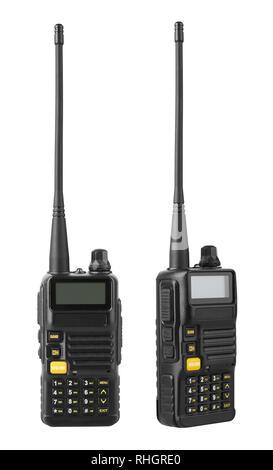 Portable radio transceiver, isolated on white background - Stock Photo