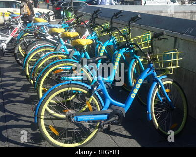 BYKE branded bike sharing bicycles available for hire outside Frankfurt central station in 2018. - Stock Photo