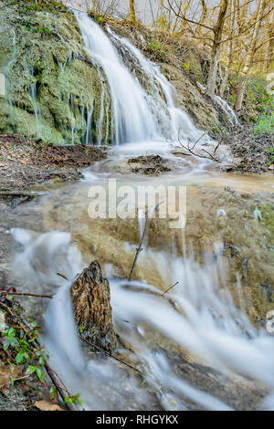 Crockett Gardens Waterfall is a beautiful highlight of the Good Water hiking trail that circles Lake Georgetown in central Texas, just north of Austin - Stock Photo
