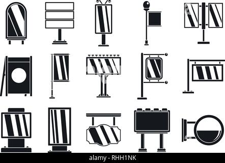 Outdoor advertising billboard icons set. Simple set of outdoor advertising billboard vector icons for web design on white background Stock Photo