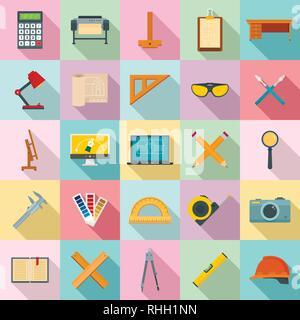 Architect equipment icons set. Flat set of architect equipment vector icons for web design - Stock Photo