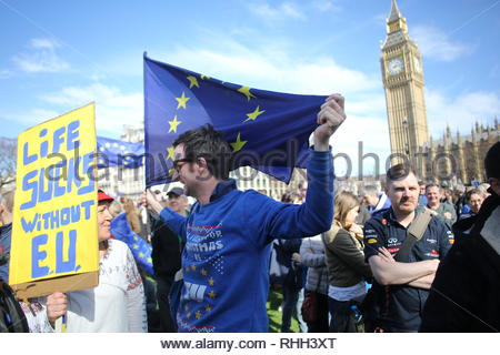 A pro-EU demonstration makes its way towards Westminster as the Brexit controversy rages in the UK - Stock Photo