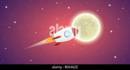 rocket is flying to the full moon in pink starry space vector illustration EPS10 - Stock Photo