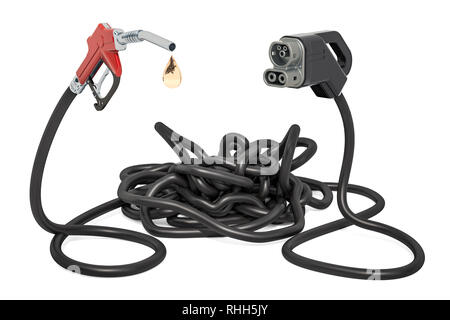 Electric car charging or petroleum concept. 3D rendering isolated on white background - Stock Photo