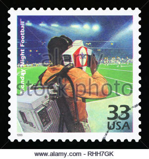 UNITED STATES OF AMERICA, CIRCA 1999: a postage stamp printed in USA showing an image of the TV program Monday Night Football, circa 1999. - Stock Photo