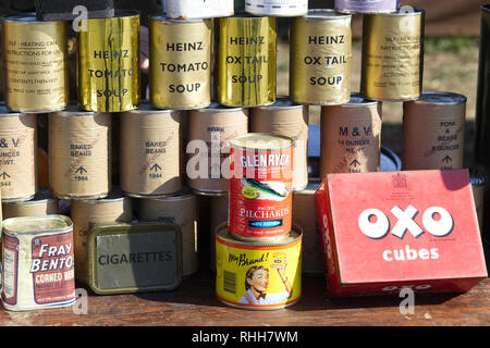 self heating cans and HM Forces only food supply's at  Reenactment at the Victory show - Stock Photo