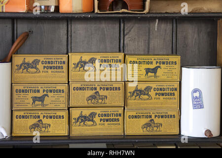 Stewards alternative condition powders for horses on a shelf - Stock Photo